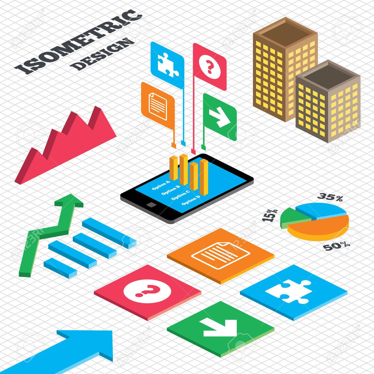 Isometric design graph and pie chart question mark and puzzle graph and pie chart question mark and puzzle piece icons document nvjuhfo Images