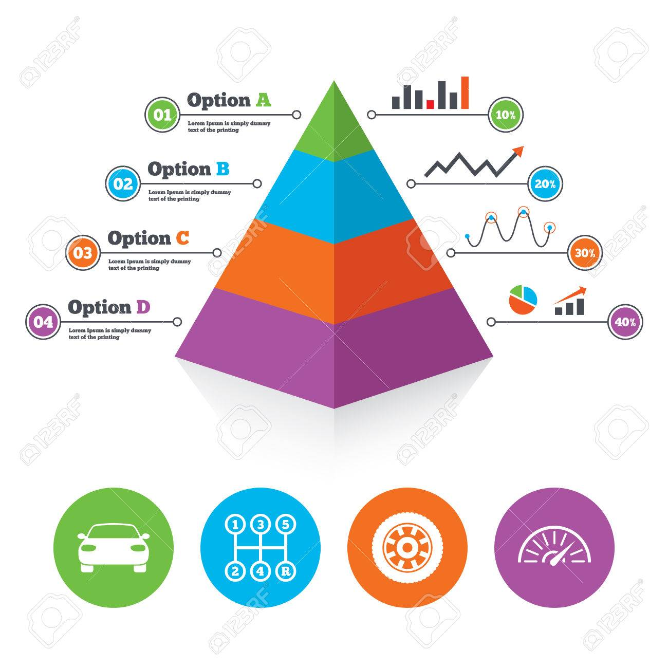 pyramid chart template transport icons car tachometer and mechanic
