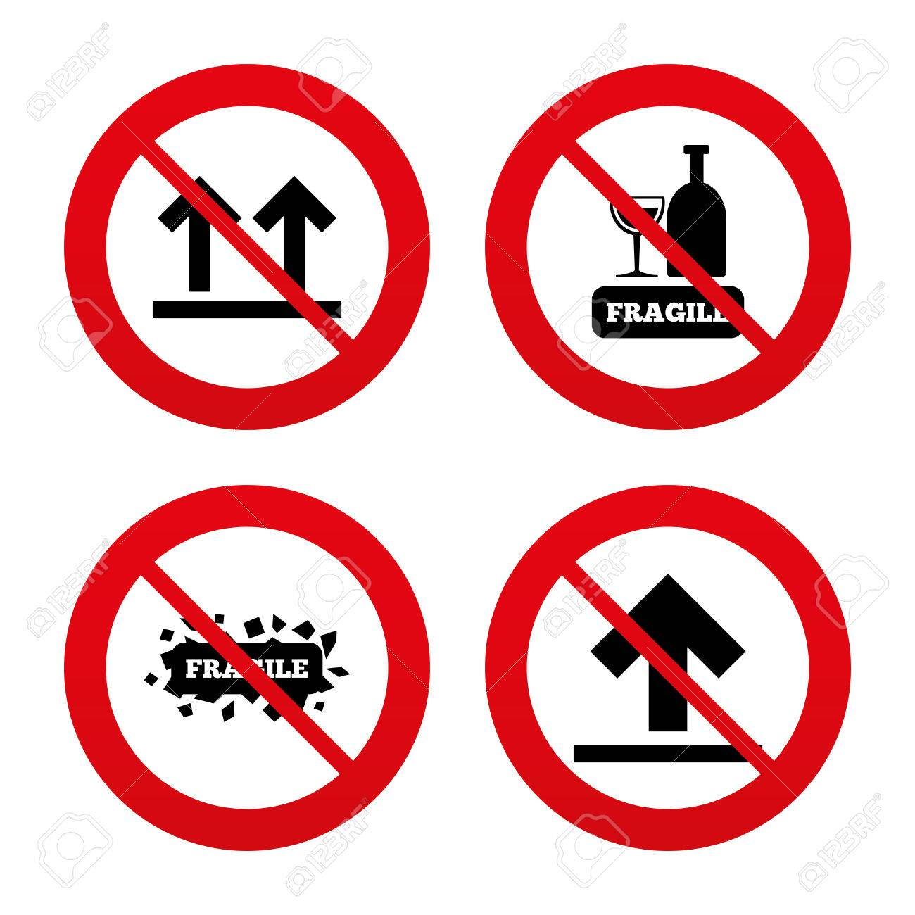 No Ban Or Stop Signs Fragile Icons Delicate Package Delivery