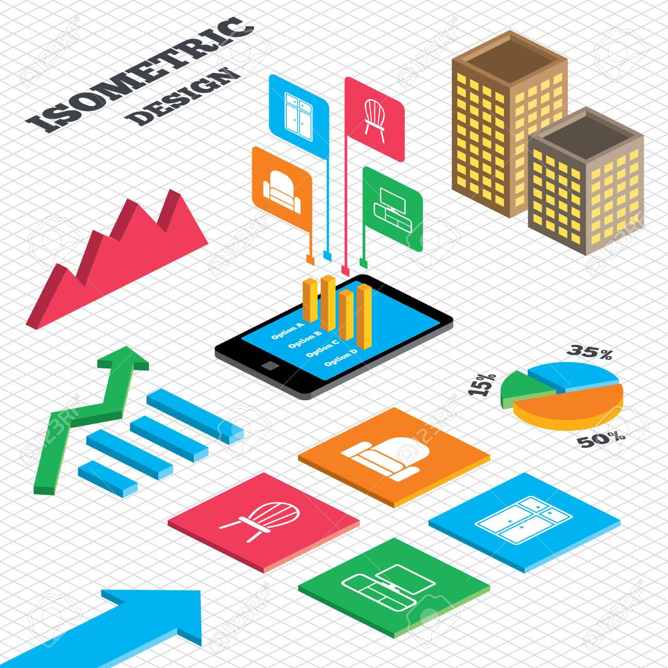 Table chart design - Isometric Design Graph And Pie Chart Furniture Icons Cupboard Chair And Tv