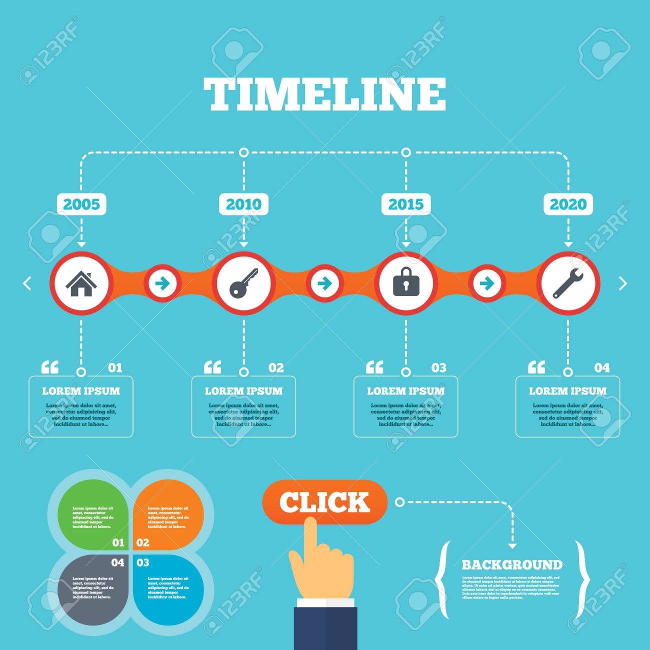 timeline with arrows and quotes home key icon wrench service