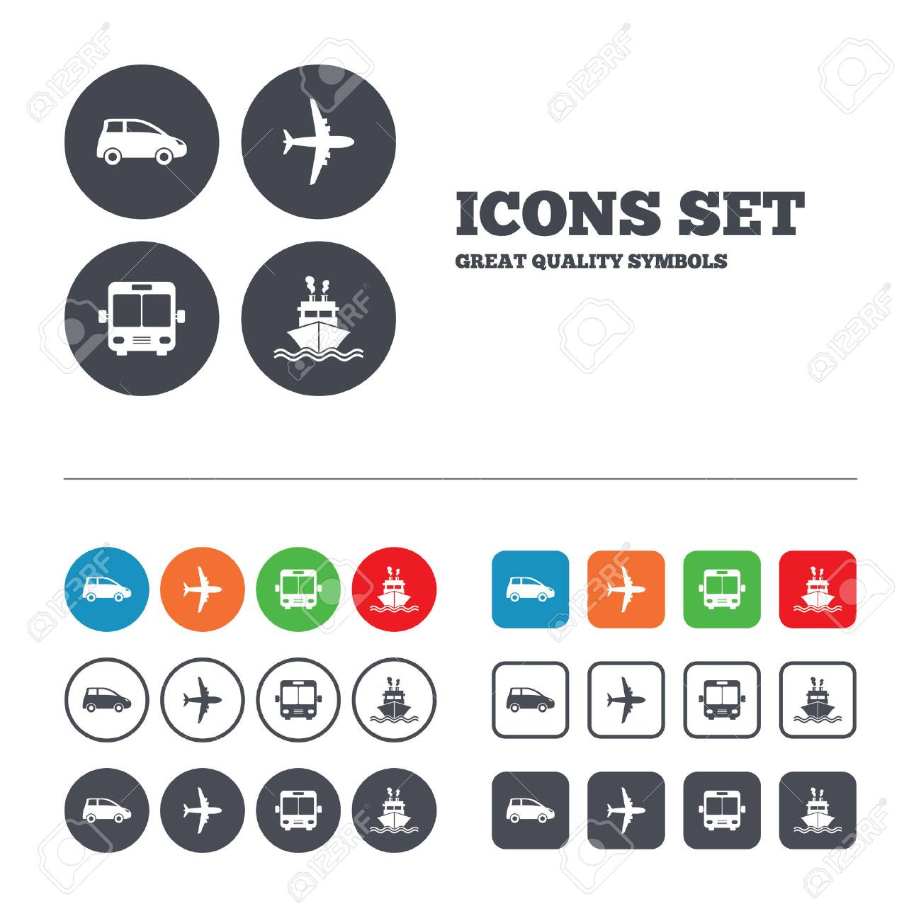Transport Icons Car Airplane Public Bus And Ship Signs - Car signs and symbols