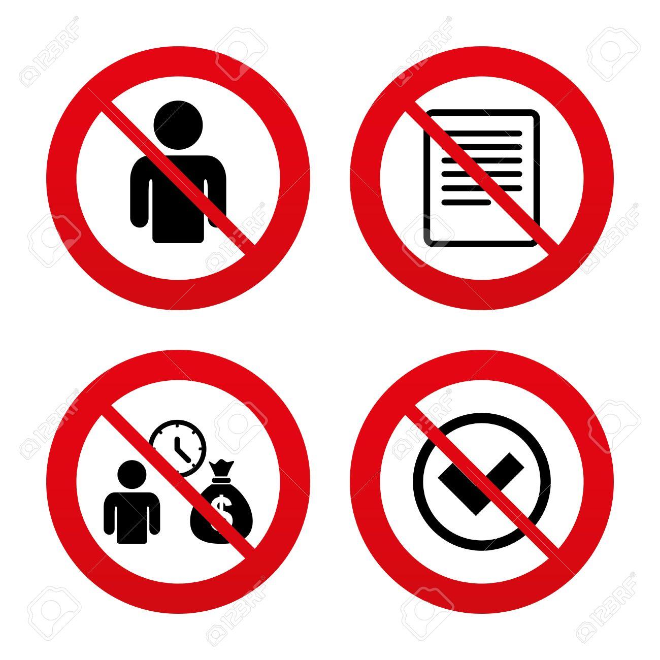 No Ban Or Stop Signs Bank Loans Icons Cash Money Bag Symbol