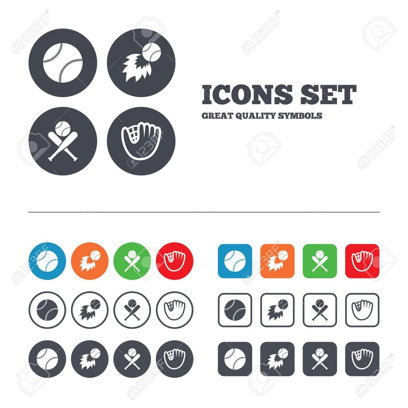 Baseball sport icons ball with glove and two crosswise bats ball with glove and two crosswise bats signs fireball symbol buycottarizona