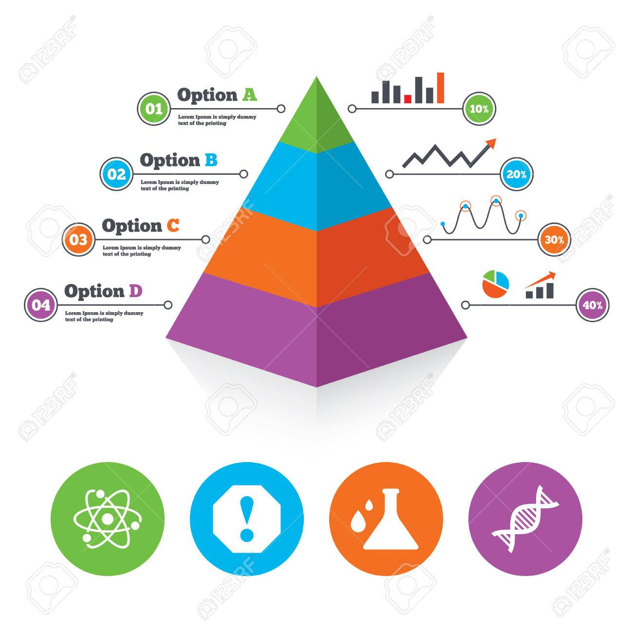 Pyramid chart template attention and dna icons chemistry flask banco de imagens pyramid chart template attention and dna icons chemistry flask sign atom symbol infographic progress diagram vector ccuart Choice Image