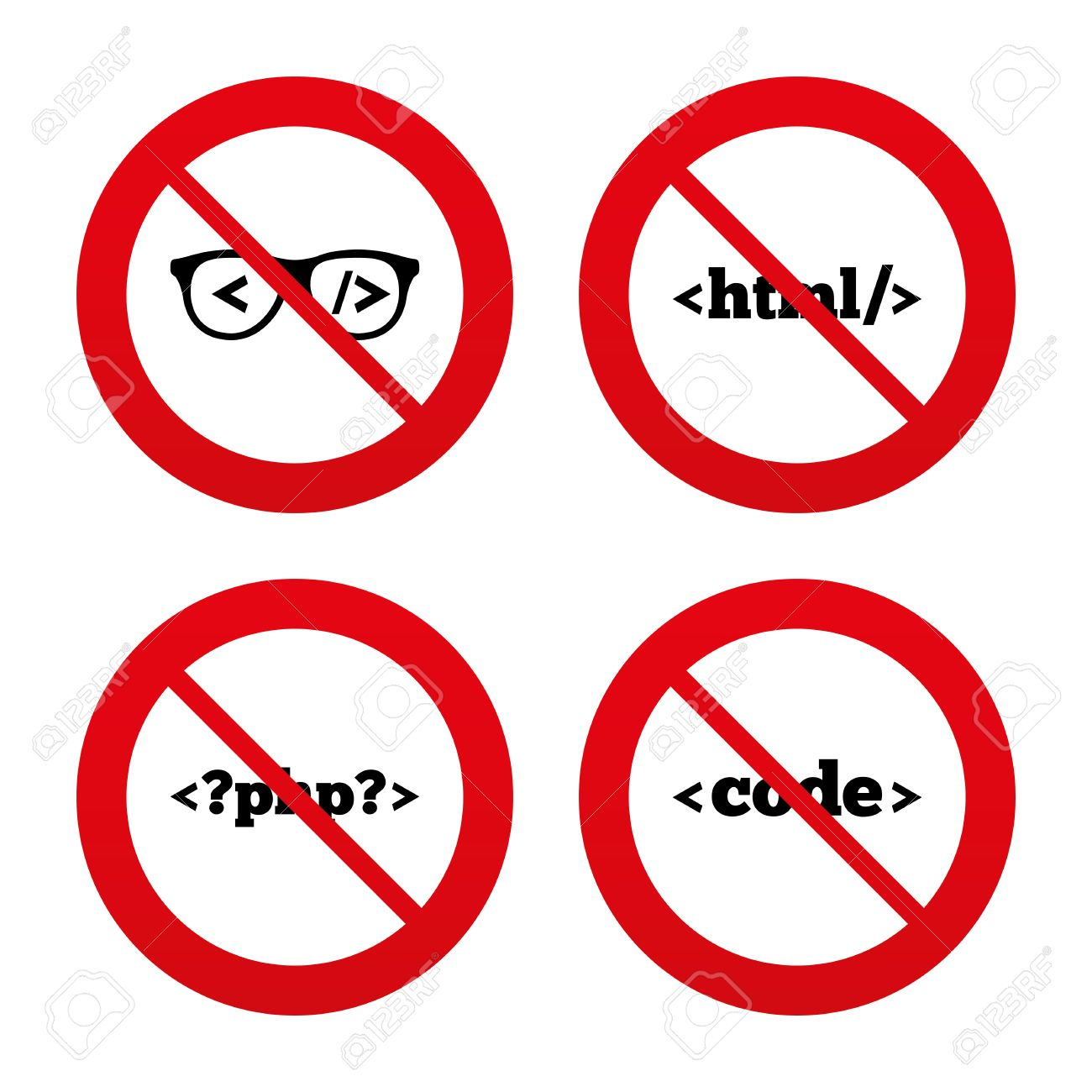 No Ban Or Stop Signs Programmer Coder Glasses Icon Html Markup