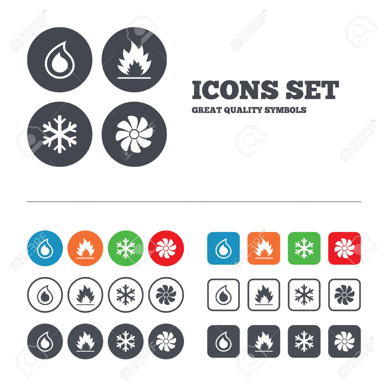 HVAC Icons. Heating, Ventilating And Air Conditioning Symbols ...