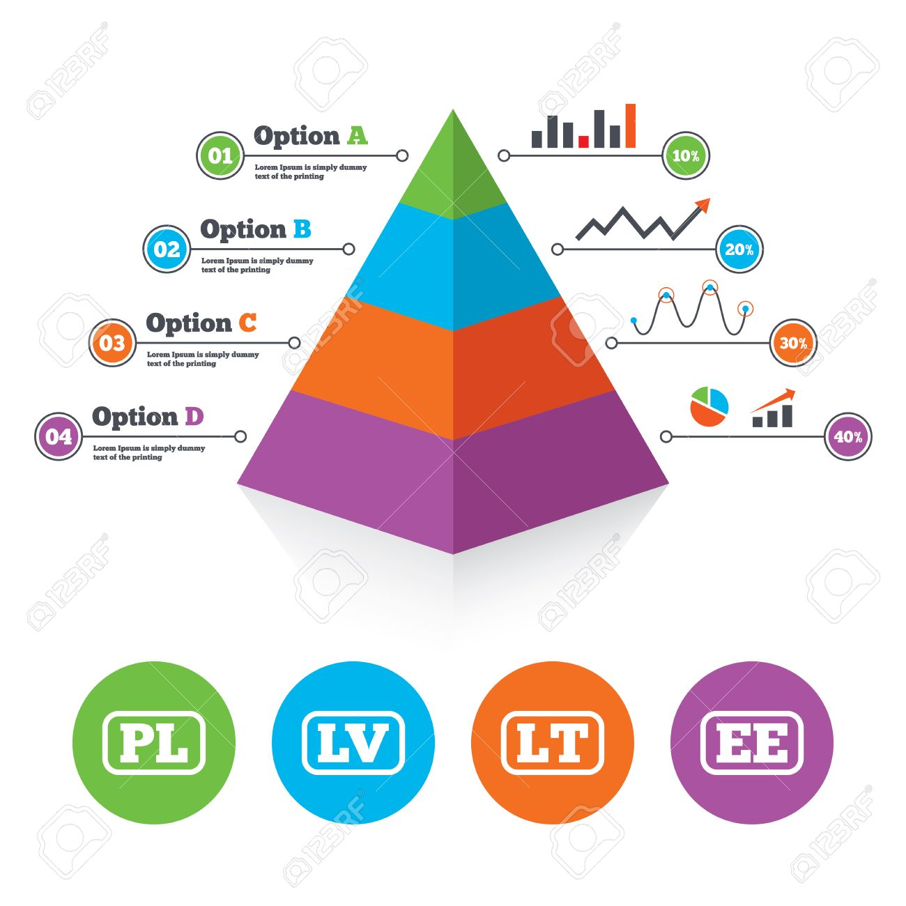 Pyramid Chart Template. Language Icons. PL, LV, LT And EE ...