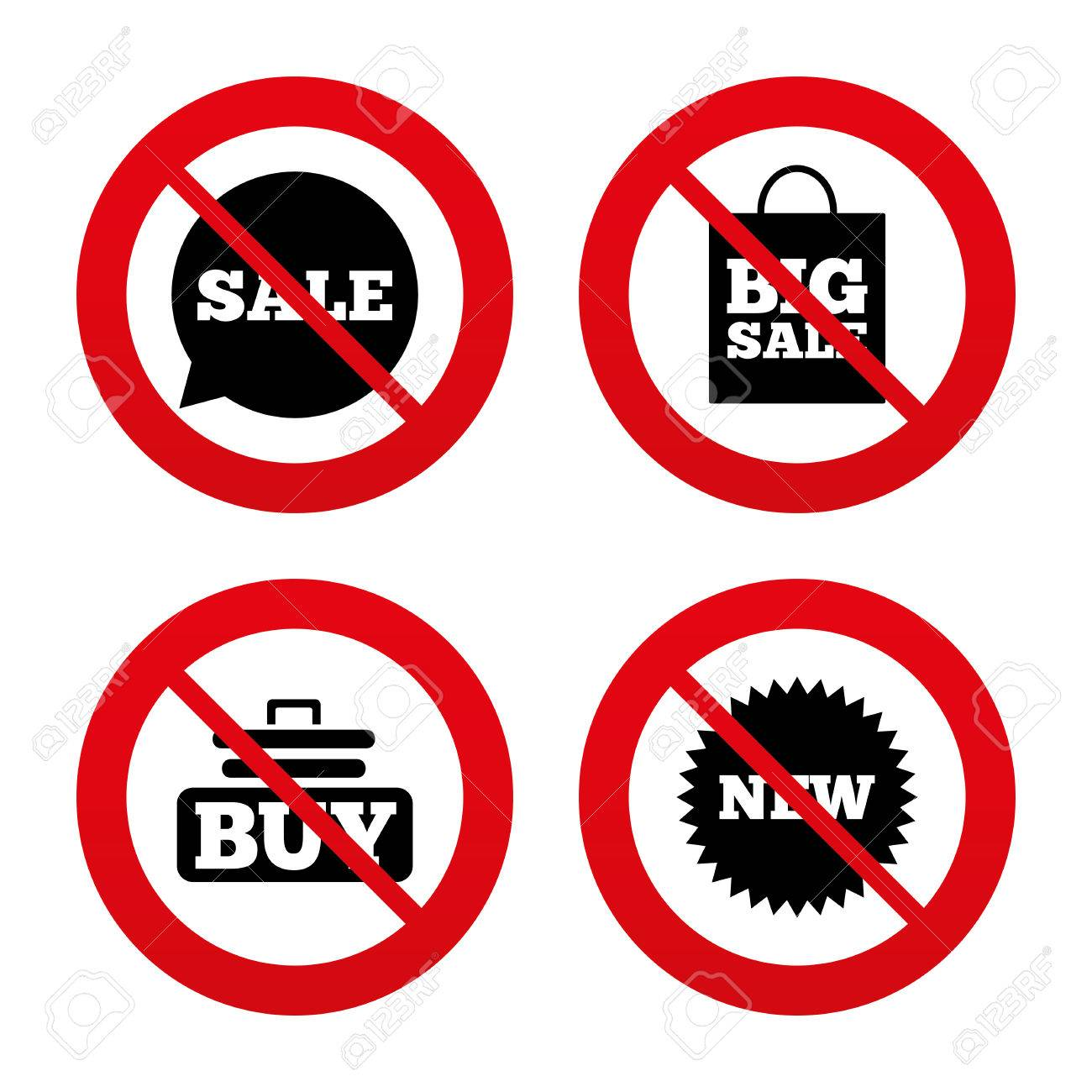 No, Ban Or Stop Signs. Sale Speech Bubble Icon. Buy Cart Symbol ...