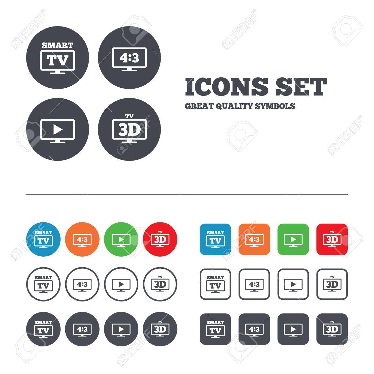 Smart TV-Modus-Symbol. Seitenverhältnis 4: 3 Breitbild-Symbol. 3D ...