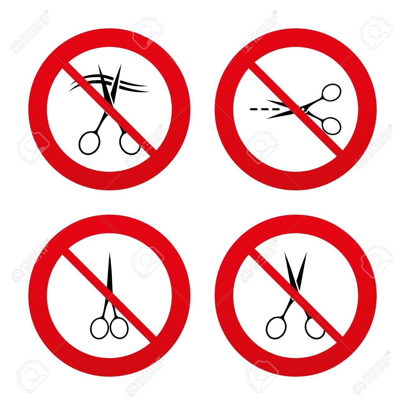いいえ 禁止または一時停止の標識 はさみのアイコン 美容院や理髪店