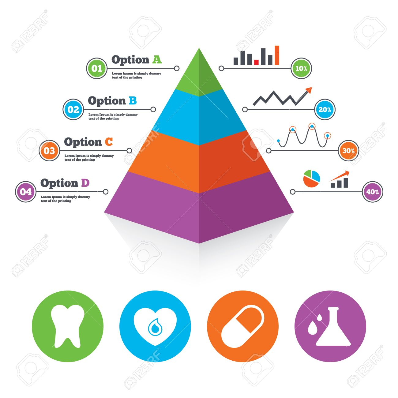 Pyramid Chart Template. Maternity Icons. Pill, Tooth, Chemistry And Heart  Signs.