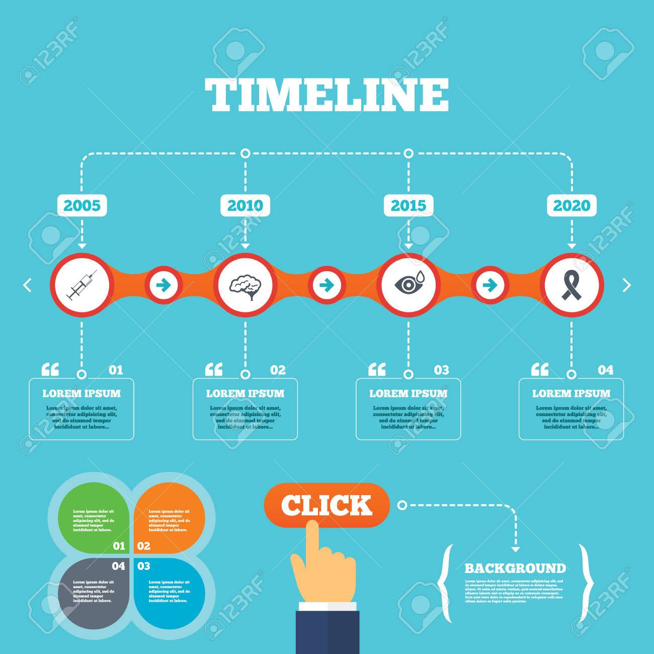 C Stock Quote Timeline With Arrows And Quotesmedicine Iconssyringe Eye