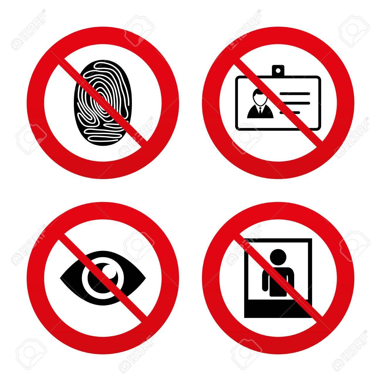 Signos No, Ban O Detenerse. ID Identidad Iconos Insignia Tarjeta ...