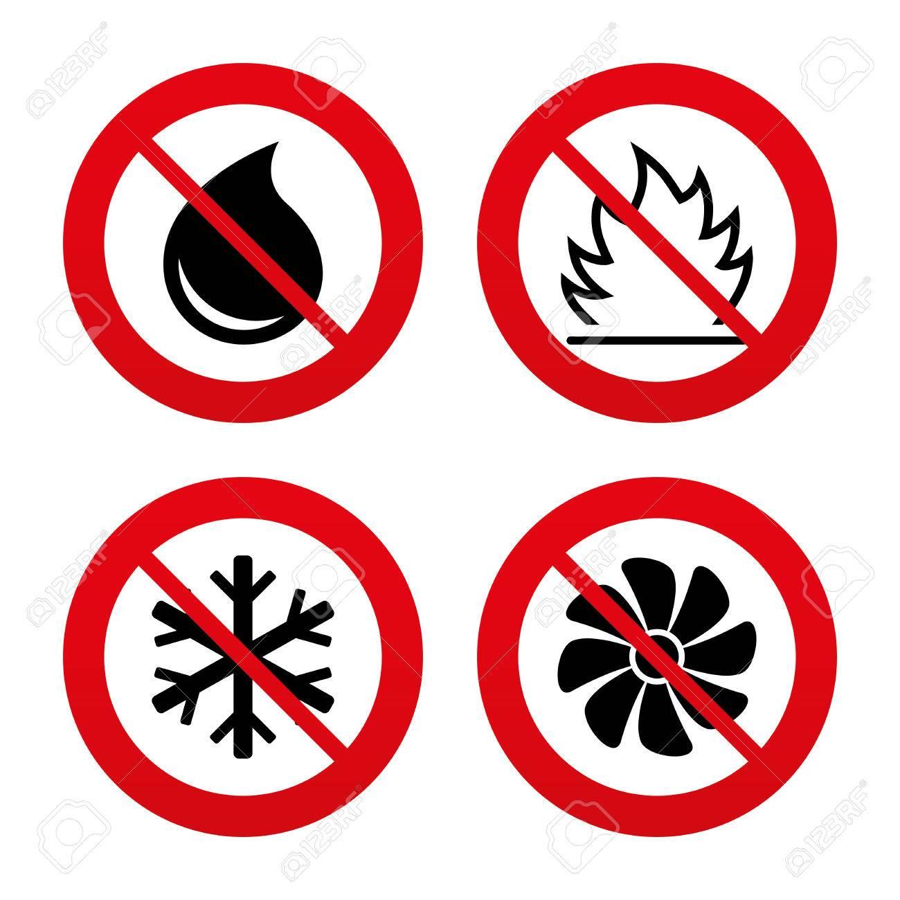 Nein, Ban Oder Stoppschilder. HVAC-Icons. Heizungs-, Lüftungs- Und ...