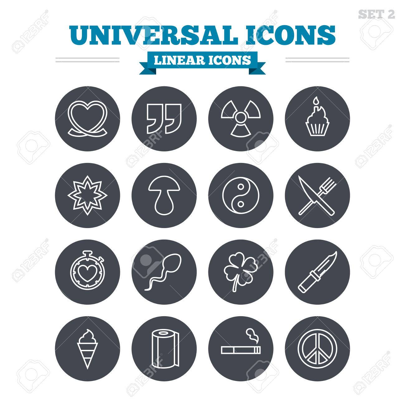Universal Linear Icons Set Quotes Ribbon Heart And Cake Clover