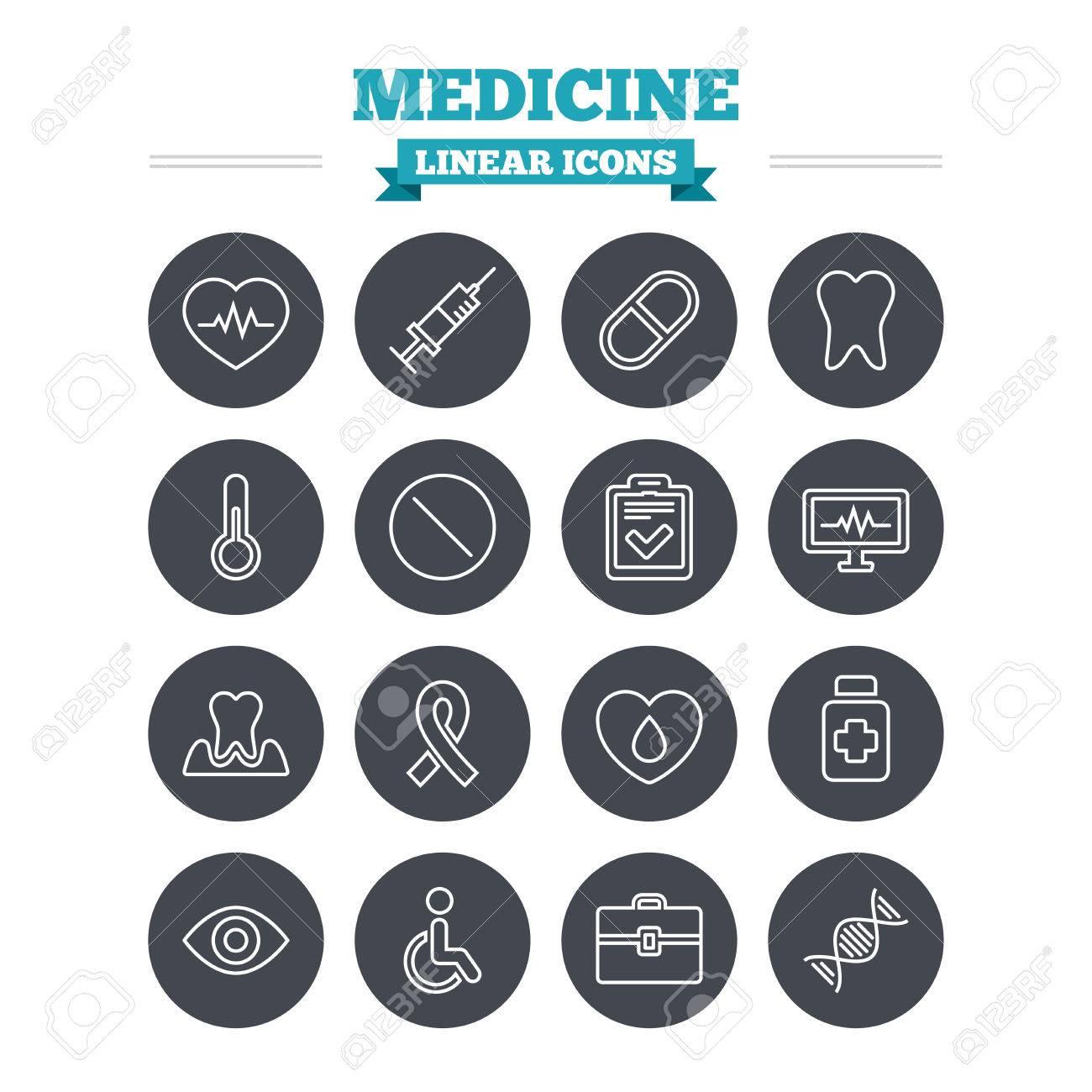 Medicine linear icons set syringe heartbeat and pills symbols syringe heartbeat and pills symbols tooth health eye biocorpaavc