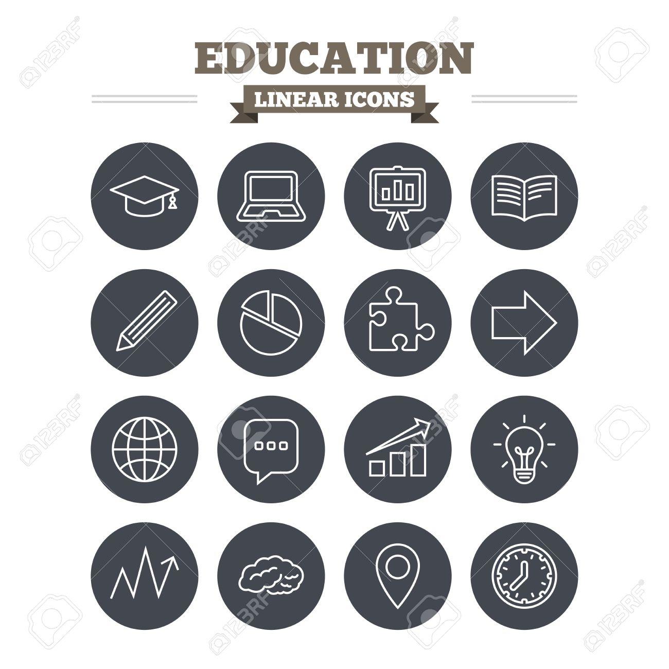Education Linear Icons Set Graduation Cap Pencil And Book Symbols