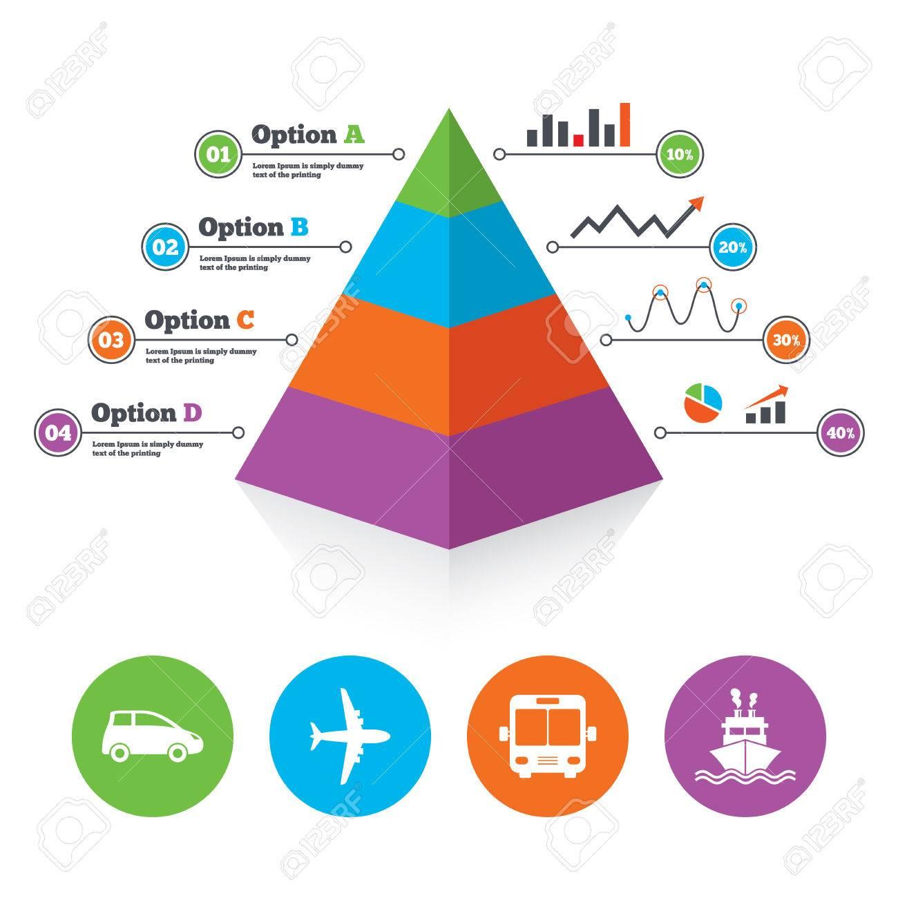 Pyramid Diagrammvorlage. Transport Icons. Auto, Flugzeug, Bus Und ...