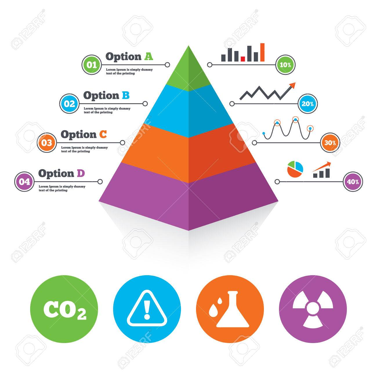 Pyramid Chart Template. Attention And Radiation Icons. Chemistry ...