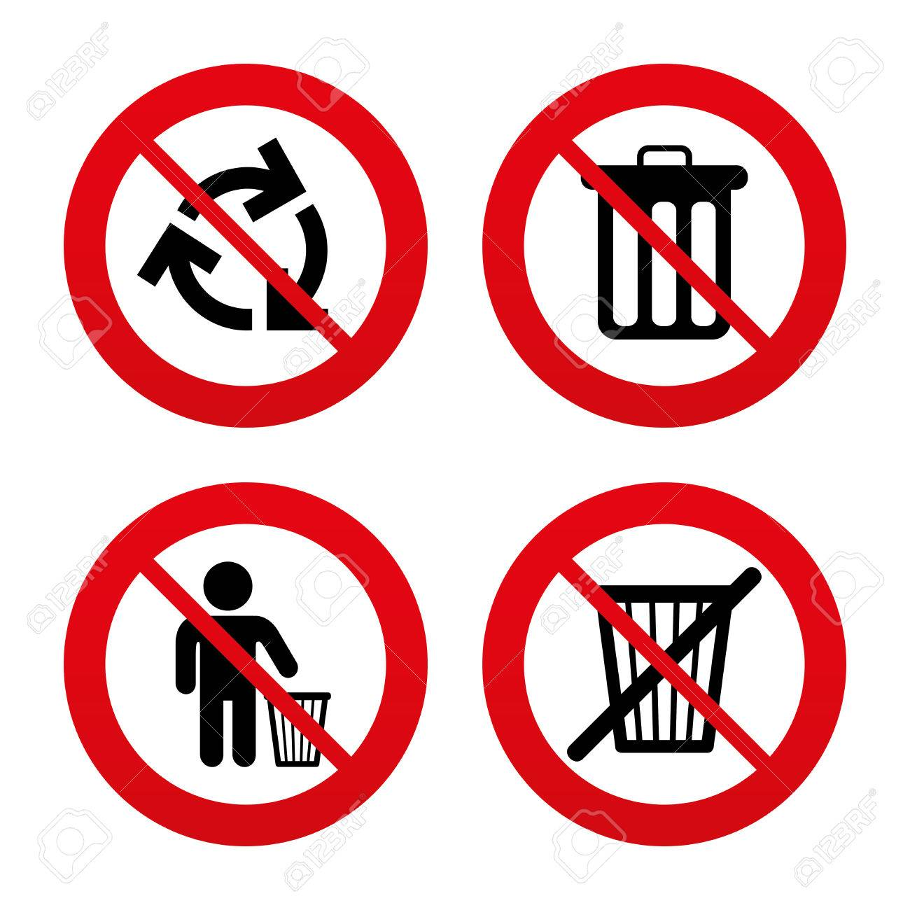 No Ban Or Stop Signs Recycle Bin Icons Reuse Or Reduce Symbols