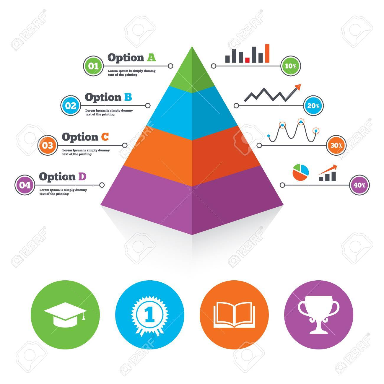 Pyramid Chart Template Graduation Icons Student Cap Sign Education Book Symbol