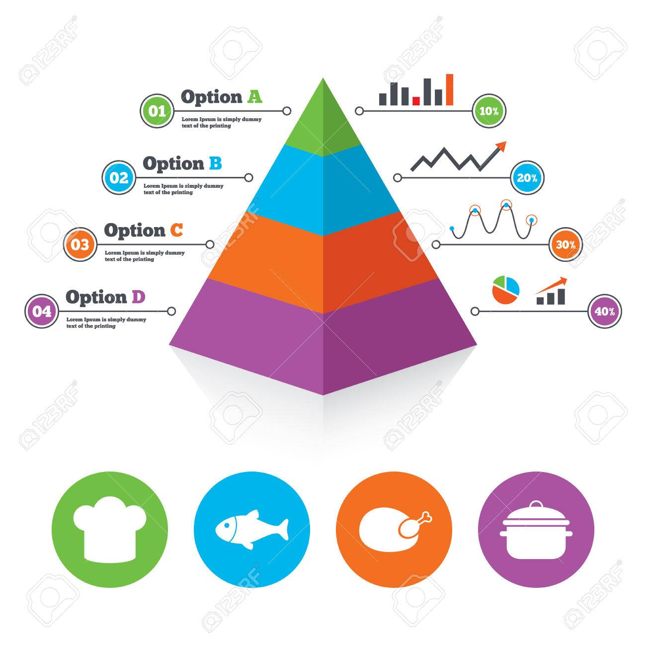 pyramid chart template chief hat and cooking pan icons fish
