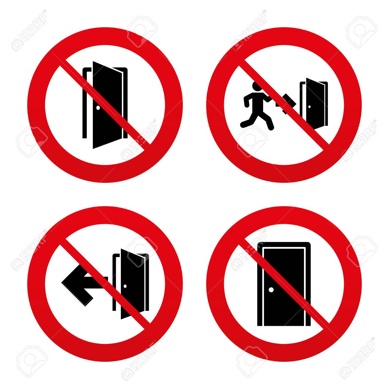 no ban or stop signs doors icons emergency exit with human figure and