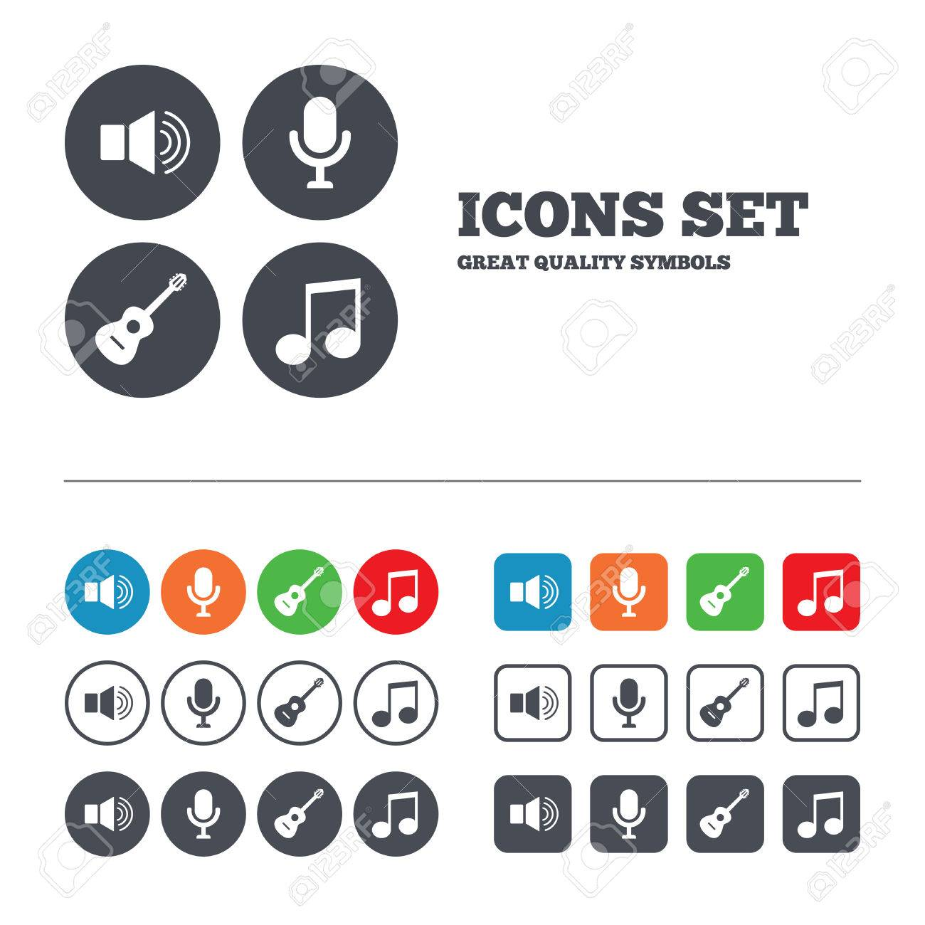 Musical elements icons microphone and sound speaker symbols musical elements icons microphone and sound speaker symbols music note and acoustic guitar signs buycottarizona
