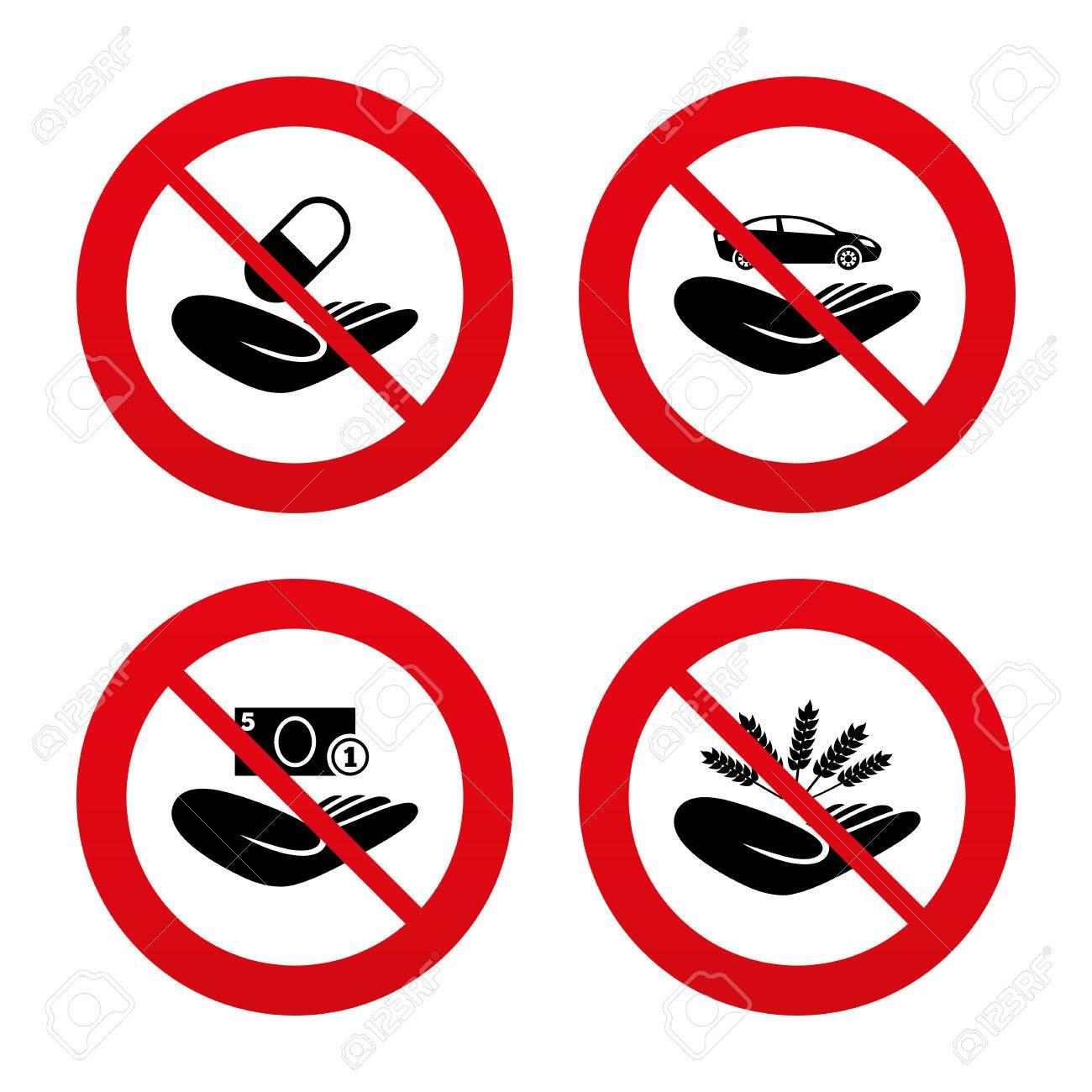 Nein, Ban Oder Stoppschilder. Helfende Hände Symbole. Schutz Und ...