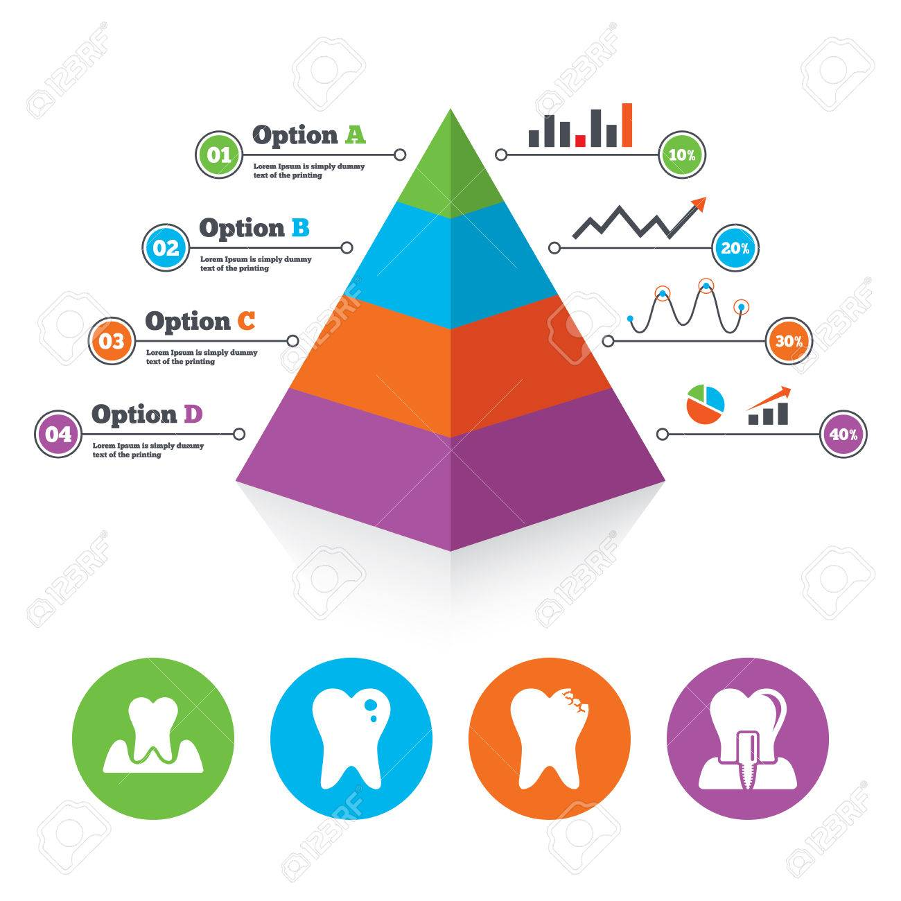 Pyramid Chart Template Dental Care Icons Caries Tooth Sign – Teeth Chart Template