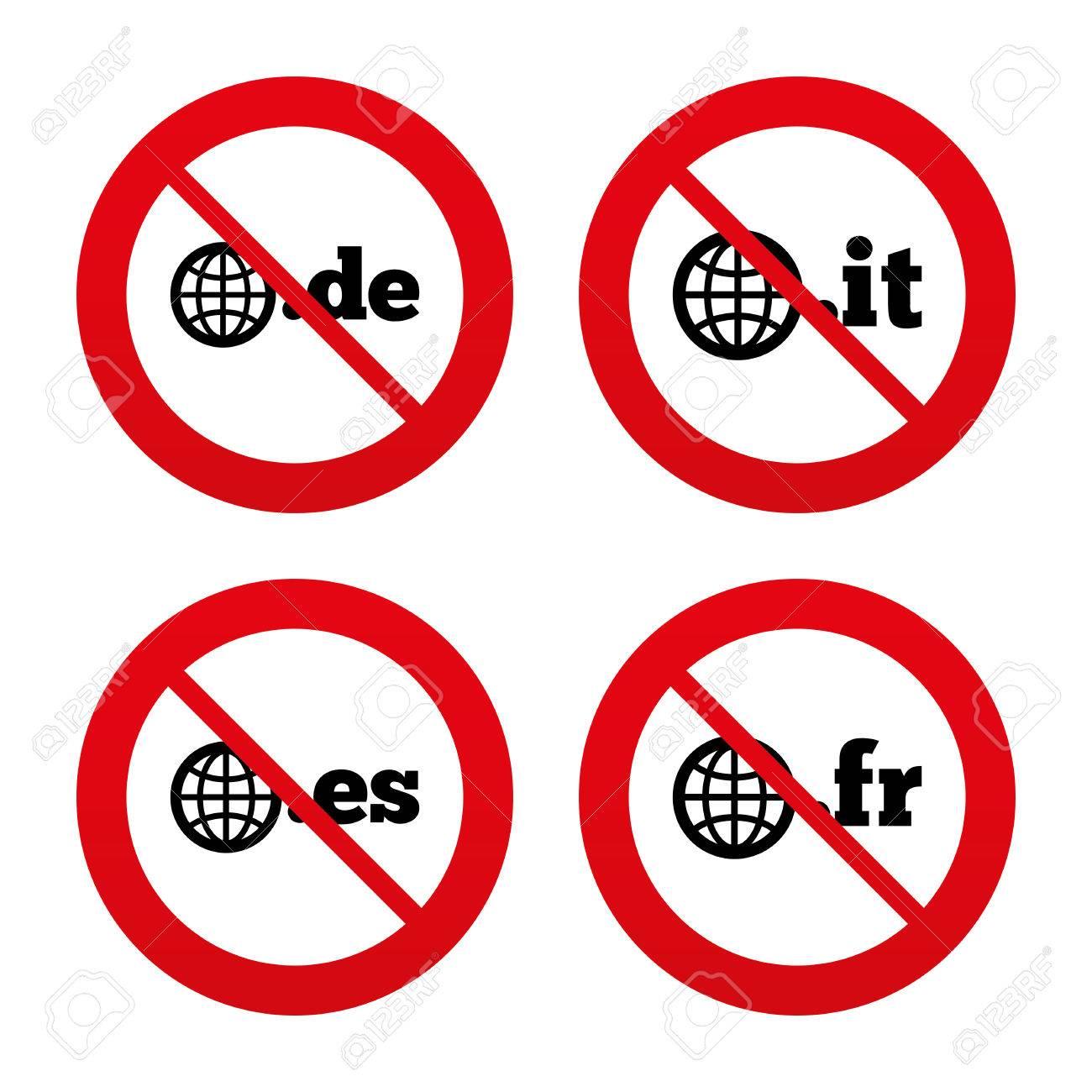 No Ban Or Stop Signs Top Level Internet Domain Icons De It