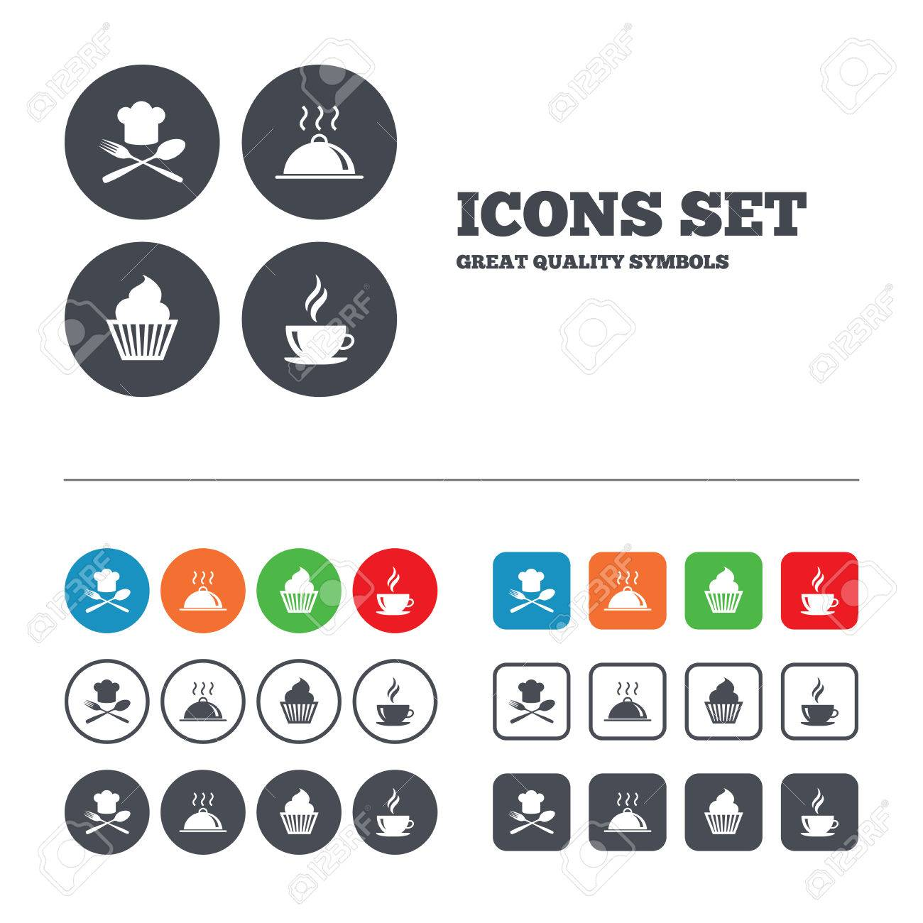 Food And Drink Icons Muffin Cupcake Symbol Fork And Spoon With Chef Hat Sign Hot Coffee Cup Food Platter Serving Web Buttons Set Circles And