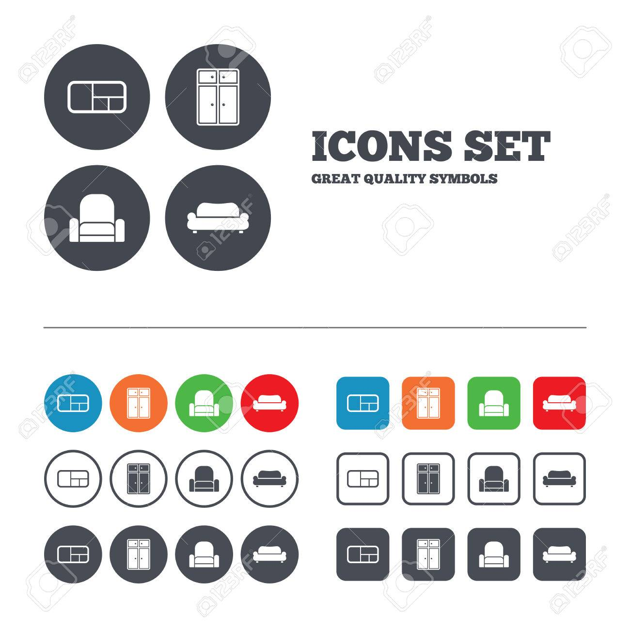 Modern Furniture Icon furniture icons. sofa, cupboard, and book shelf signs. modern