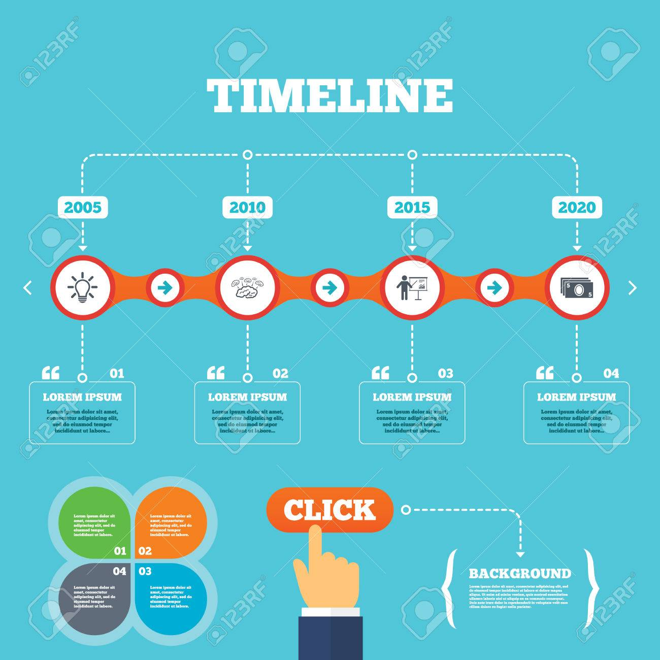 Timeline with arrows and quotes presentation billboard brainstorm timeline with arrows and quotes presentation billboard brainstorm icons cash money and lamp ccuart Images