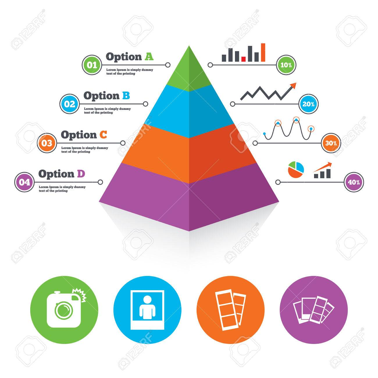 Po Booth Templates | Pyramid Chart Template Hipster Photo Camera Icon Flash Light