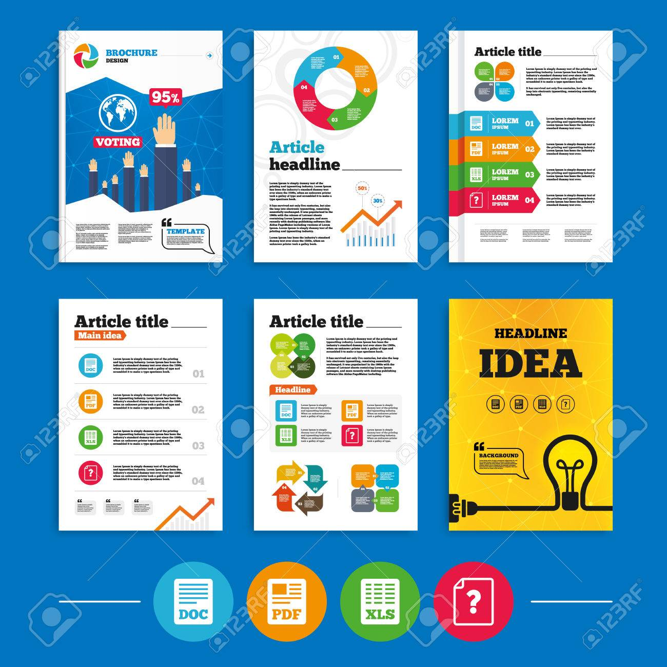 brochure or flyers design file document and question icons