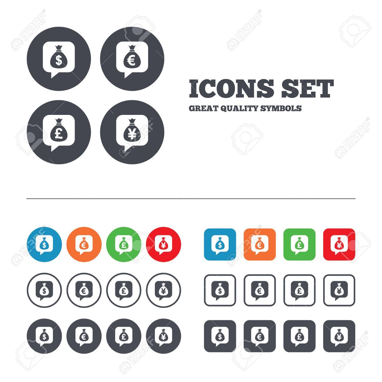 Sac D Argent Icones Dollar Euro Livre Et De La Parole Yen Bulles Symboles Usd Eur Gbp Et Les Signes Monetaires De Jpy Boutons De Web Mettent