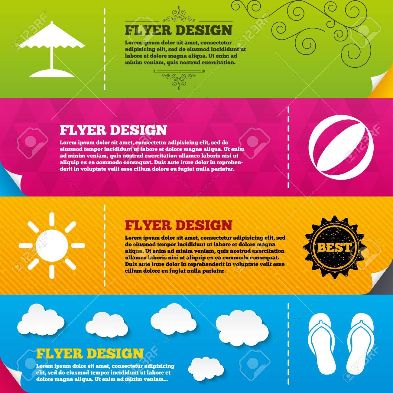 flyer brochure designs beach holidays icons ball umbrella