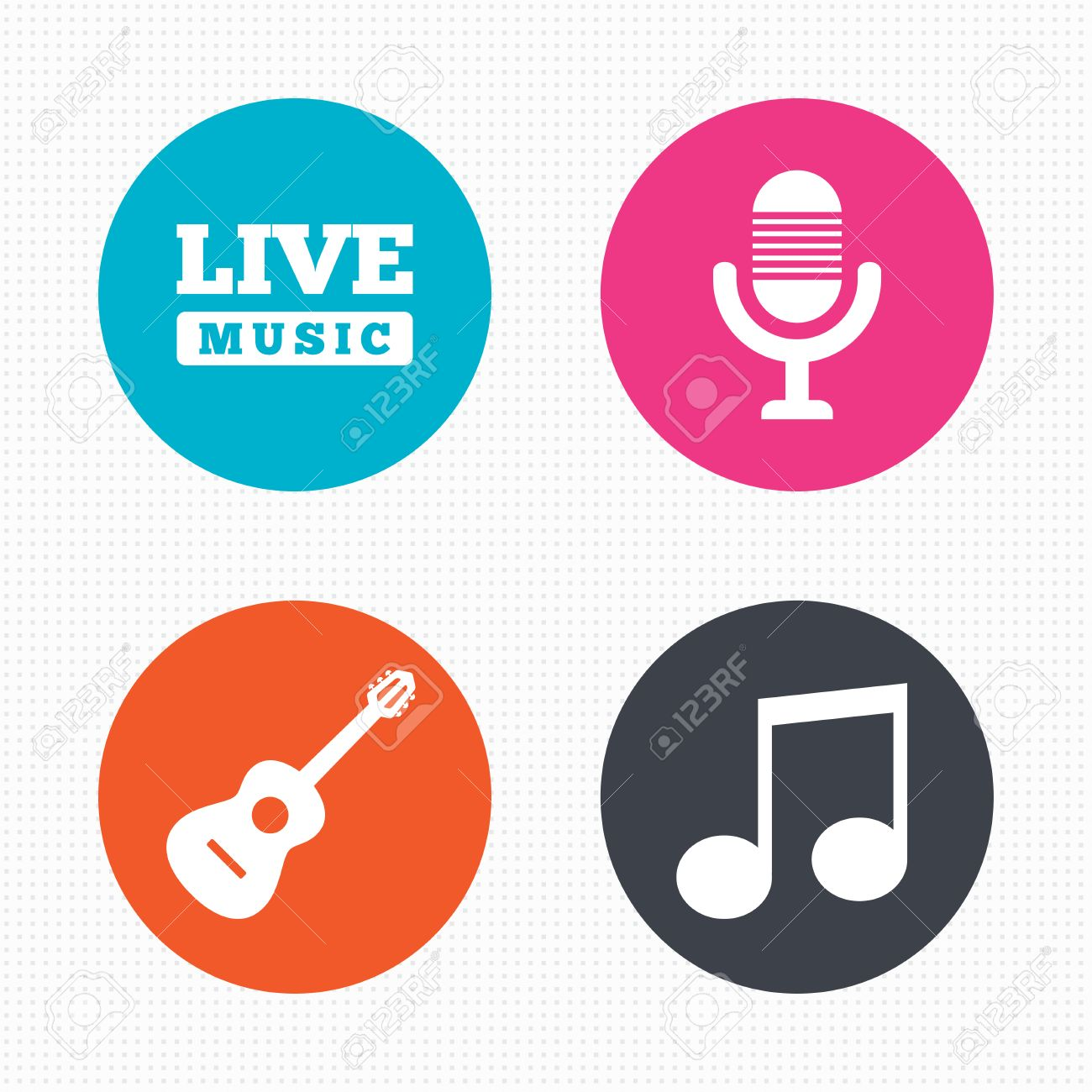Circle buttons musical elements icons microphone and live music musical elements icons microphone and live music symbols music note and buycottarizona