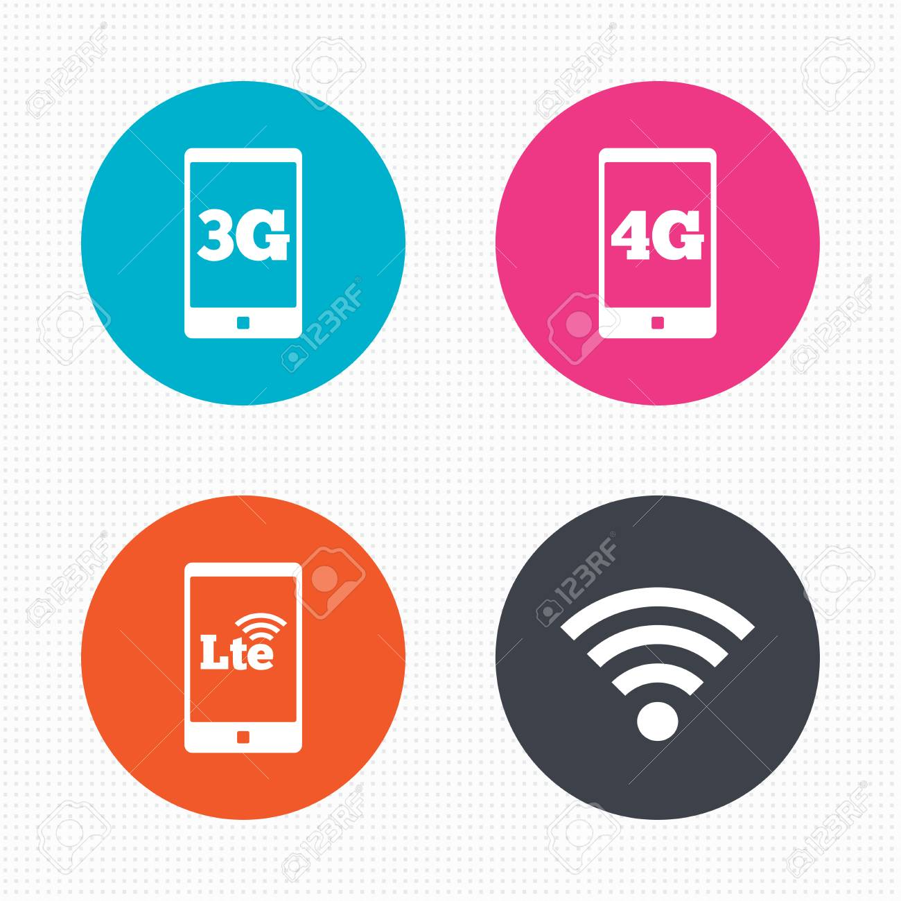 circle buttons mobile telecommunications icons 3g 4g and lte