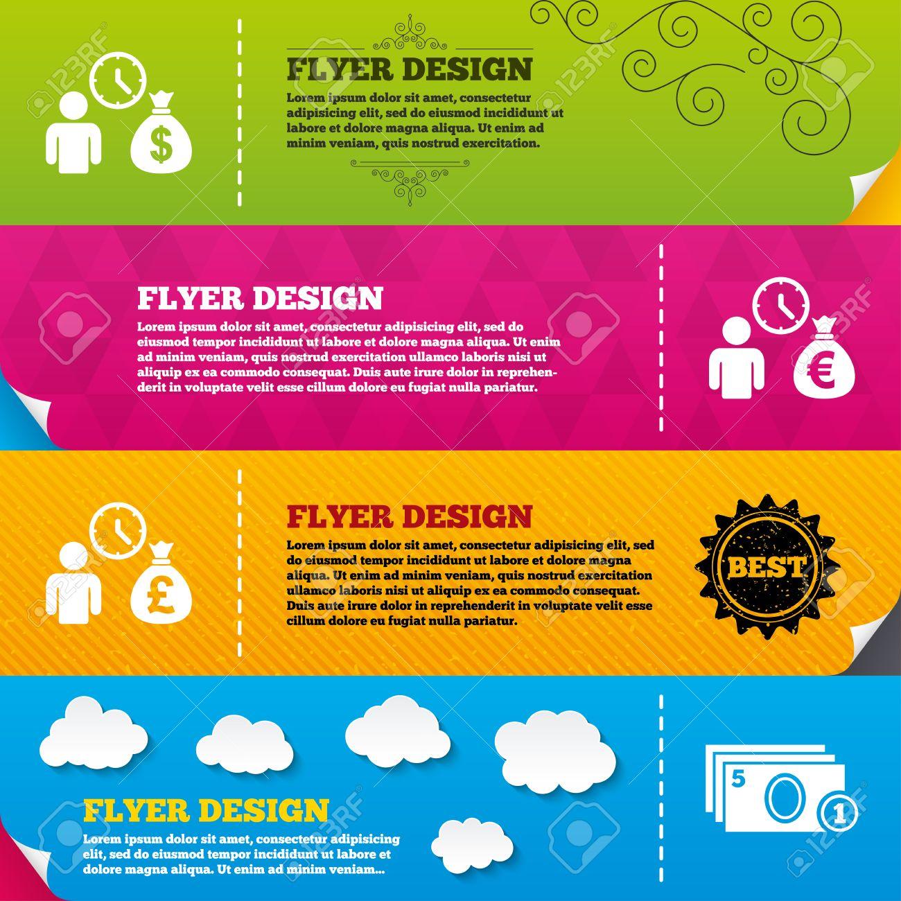 Flyer Broschüre Designs. Bankkredite Symbole. Cash Geldsack-Symbole ...