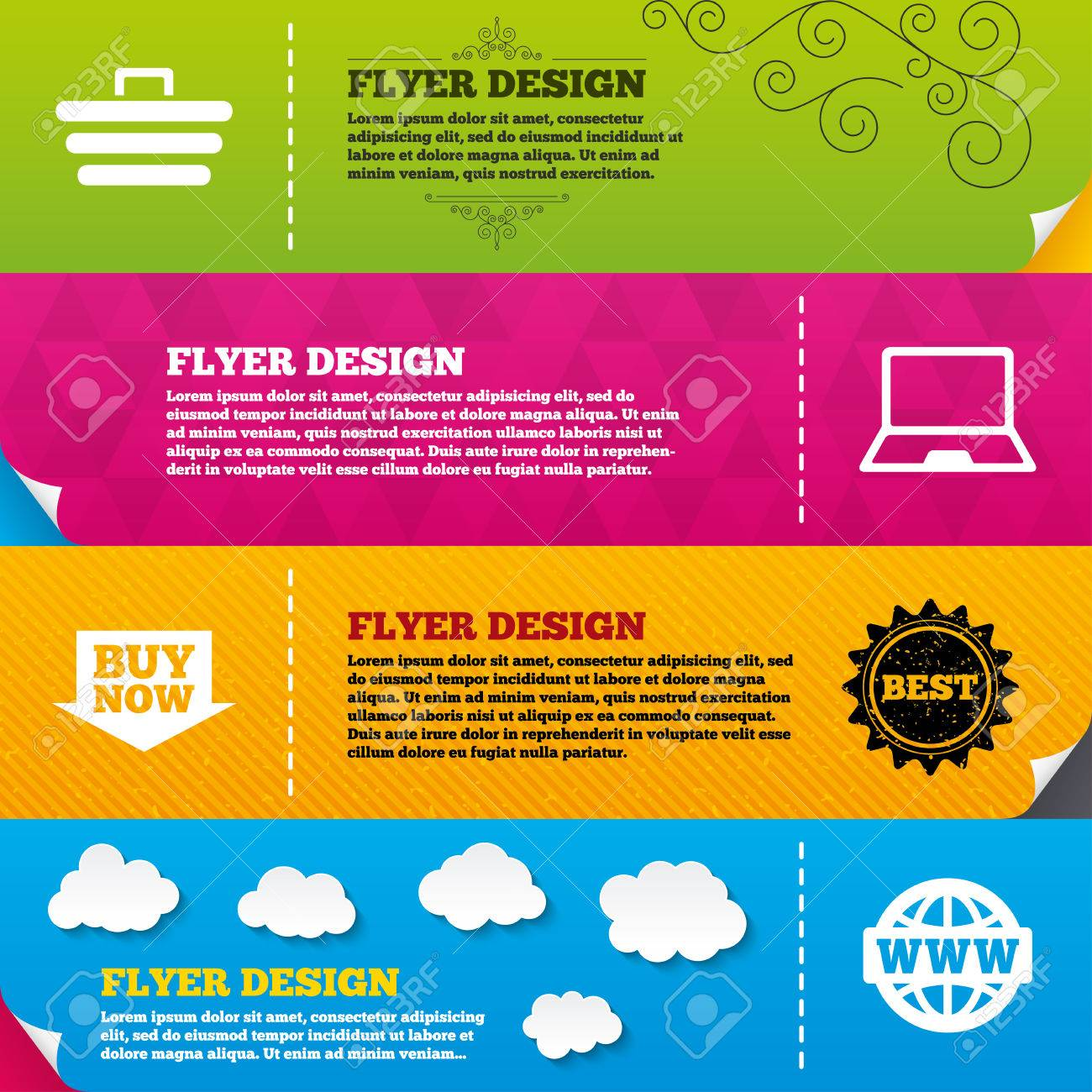 flyer brochure designs online shopping icons notebook pc shopping