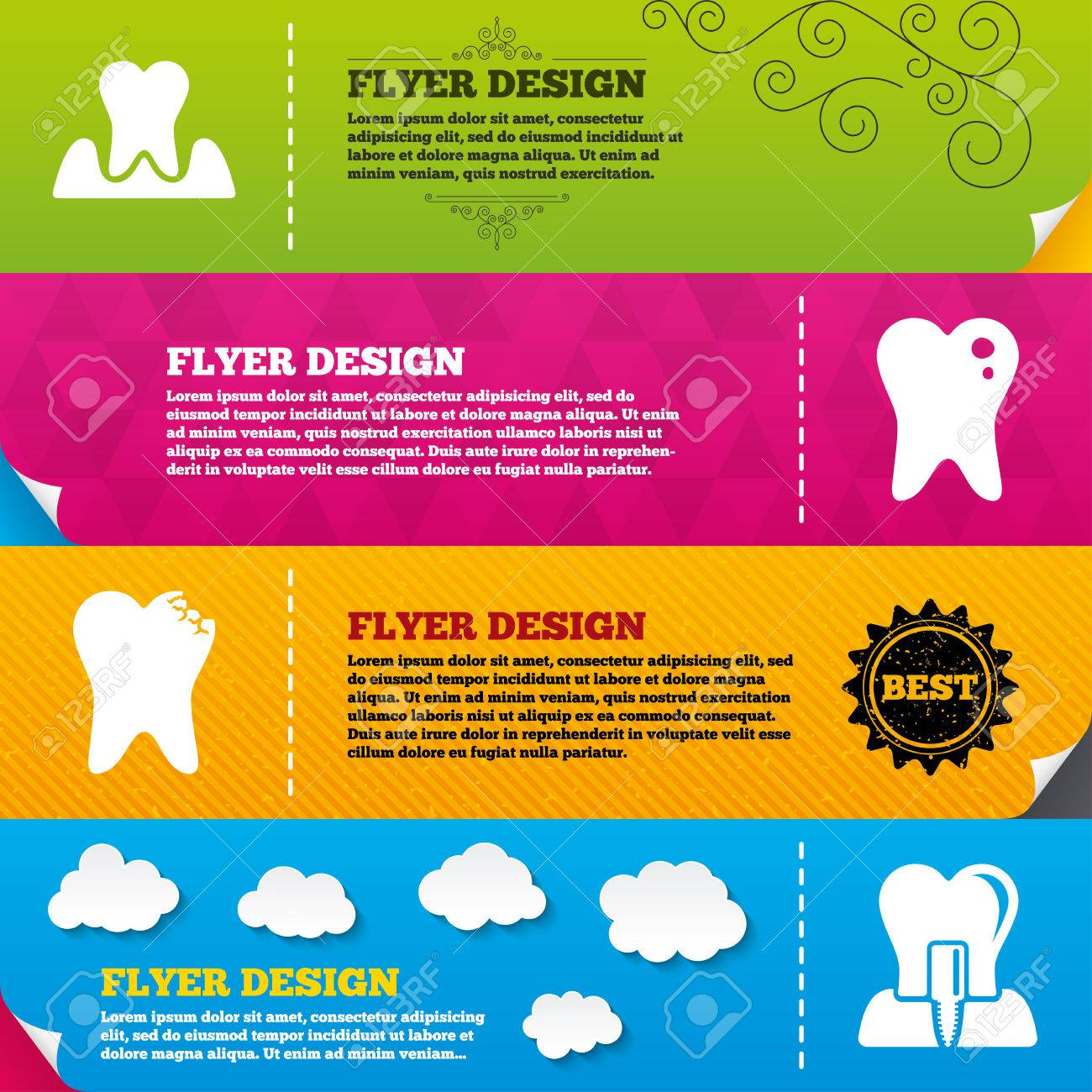 Flyer Brochure Designs Dental Care Icons Caries Tooth Sign Endosseous Implant Symbol