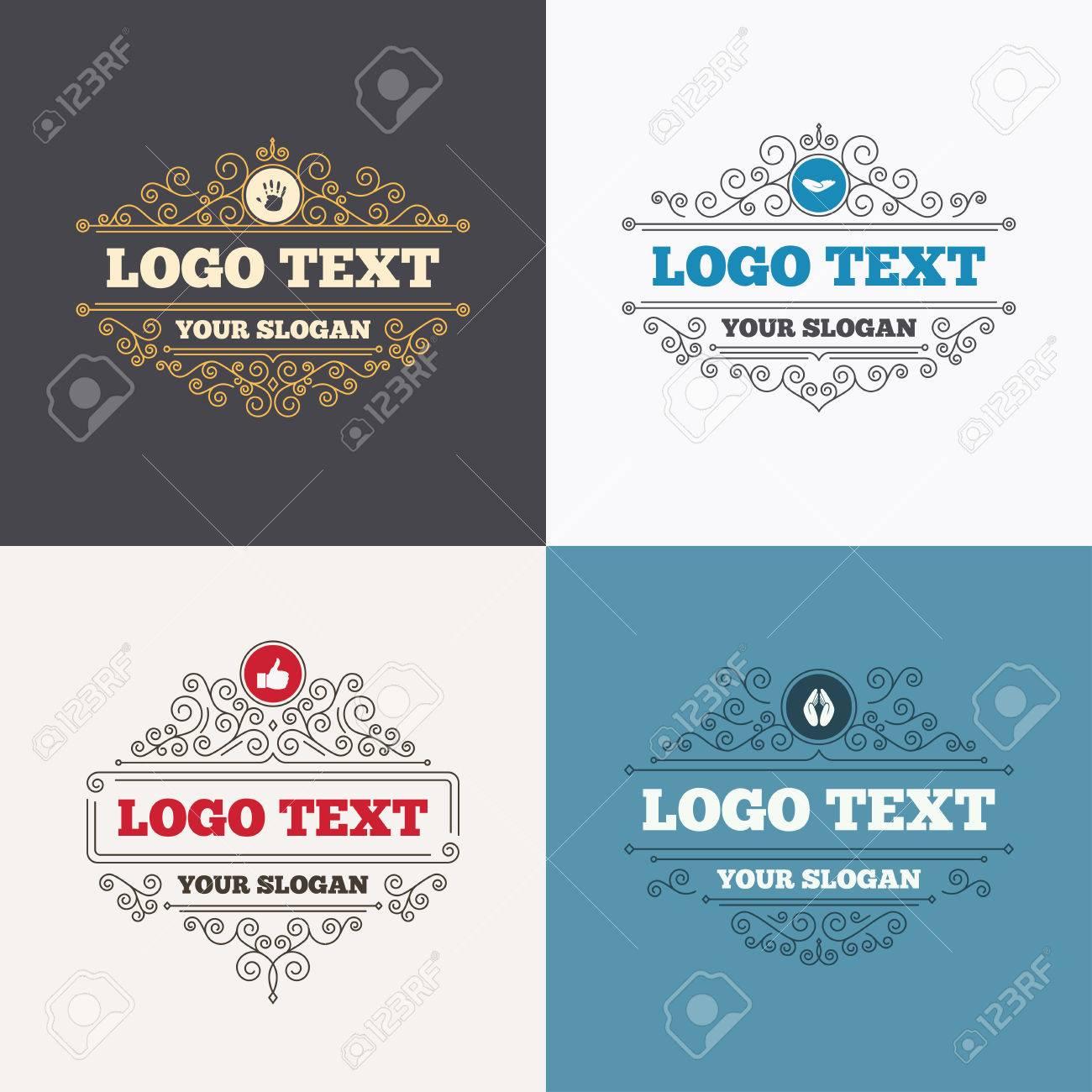 Flourishes Calligraphic Emblems Hand Icons Like Thumb Up Symbol