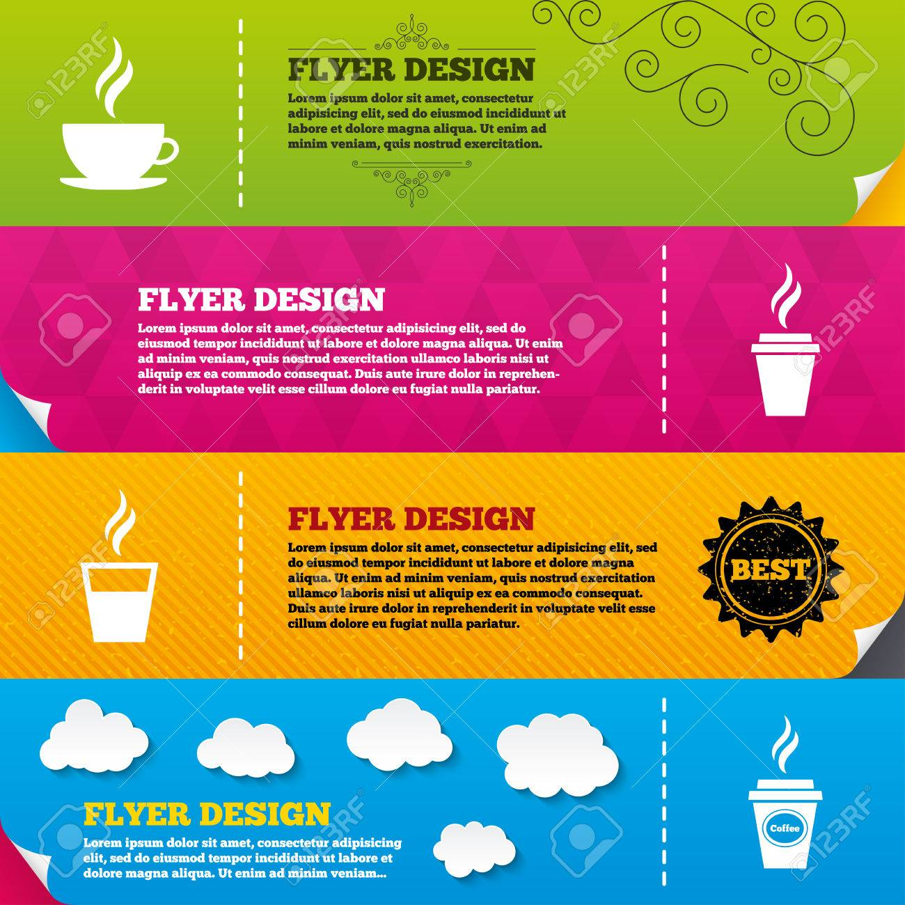 Flyer Brochure Designs. Coffee Cup Icon. Hot Drinks Glasses ...