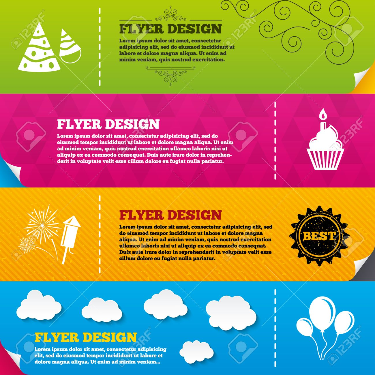 flyer brochure designs birthday party icons cake balloon