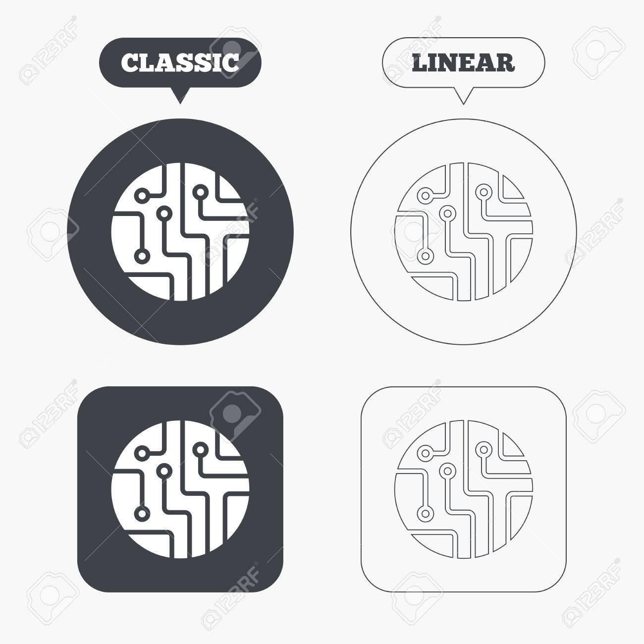 Circuit Board Sign Icon. Technology Scheme Circle Symbol. Classic ...