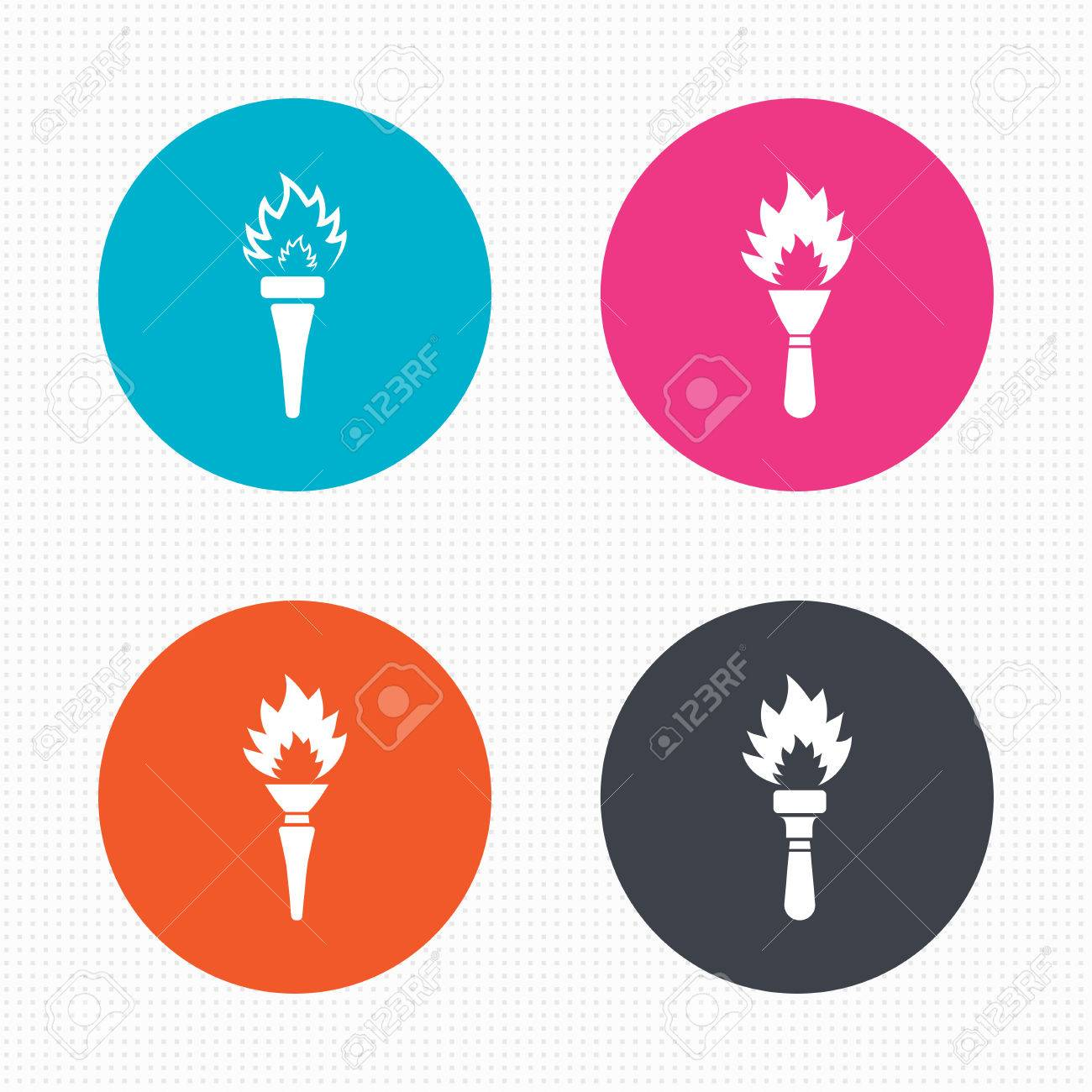 Torch flame icons. Fire flaming symbols. Hand tool which provides light  sc 1 st  123RF Stock Photos & Circle Buttons. Torch Flame Icons. Fire Flaming Symbols. Hand ... azcodes.com