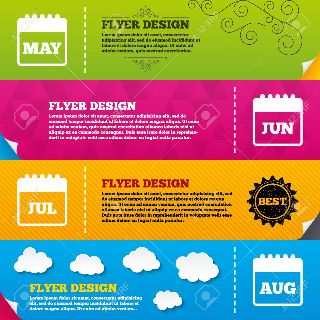 Flyer Brochure Designs. Calendar Icons. May, June, July And August ...
